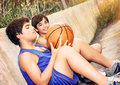 Basketball players resting