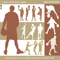 Basketball players silhouettes abstract Stock Photos