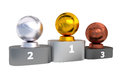 Basketball Podium with Gold Silver and Bronze Trophy Royalty Free Stock Photo