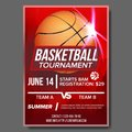 Basketball Poster Vector. Tournament Banner Advertising. Sports Bar Event Announcement. Game, League, Camp Design Blank