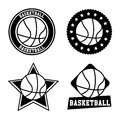 Basketball seals over white background vector illustration Stock Photography