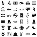 Basketball shoe icons set, simple style Royalty Free Stock Photo