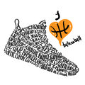 Basketball shoes lettering I love basketball Royalty Free Stock Photo