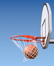 Basketball shot asketball kit with backboard hoop net and ball d illustration Royalty Free Stock Photos