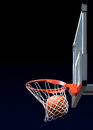 Basketball shot kit with backboard hoop net and ball d illustration Stock Photos