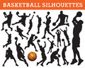 Basketball silhouettes Royalty Free Stock Images