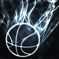 Basketball in the smoke Stock Photo