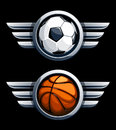 Basketball and soccer ball in metal circles with wings vector illustration Royalty Free Stock Photos