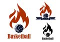 Basketball sport emblems with ball ribbon banner fire and text suitable for sporting symbols or logo design Stock Image