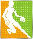 Basketball sports icon dynamic athlete in simplified anatomy or silhouette Stock Photos