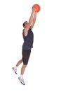 Basketball sportsman doing slam dank portrait of over white background Stock Photo