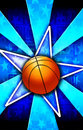 Basketball Star Burst Blue Royalty Free Stock Photo