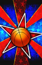 Basketball Star Burst Red Royalty Free Stock Photo