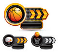 Basketball symbols on arrow nameplates Stock Photography