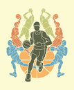 Basketball Team player dunking dripping ball action Royalty Free Stock Photo