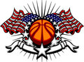 Basketball Template with Flags and Stars Royalty Free Stock Photos