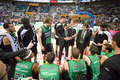 Basketball timeout joventut players during a at spanish league match between fiatc joventut and cai zaragoza final score on april Stock Image