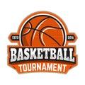 Basketball tournament. Emblem template with basketball ball. Design element for logo, label, sign.