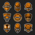 Basketball tournament vintage isolated label set