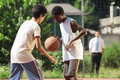 Basketball two young african boy play outdoors Stock Photography