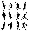Basketballl player silhouettes a set of highly detailed high quality basketball Royalty Free Stock Photography