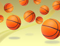 Basketballs bouncing Stock Photo