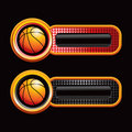 Basketballs on red and black checkered tabs Stock Photos