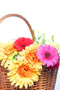 Basketful of colourful flowers decorative arrangement a assorted summer in yellow pink and red isolated on white Stock Photos