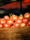 Basketful of Onions Stock Photos