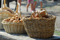 Baskets with bread Royalty Free Stock Photo