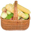 Baskets with fruit and vegetables apples basket healthy fresher corn food sweet eat organic Royalty Free Stock Images