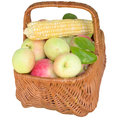 Baskets with fruit and vegetables apples basket healthy is fresher corn food sweet eat organic Royalty Free Stock Photos