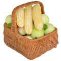 Baskets with fruit and vegetables apples basket healthy is fresher corn food sweet eat organic Stock Photo