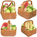 Baskets with fruit and vegetables apples basket water melon healthy apple plums grapes is fresher corn Royalty Free Stock Images
