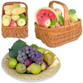 Baskets with fruit and vegetables apples basket water melon healthy apple plums grapes is fresher corn Stock Photo