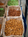 Baskets of nuts at local market Royalty Free Stock Photography