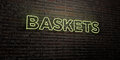 BASKETS -Realistic Neon Sign on Brick Wall background - 3D rendered royalty free stock image