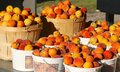 Peaches, Ripe at the Market in Full Baskets Royalty Free Stock Photo