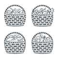 Baskets with sausages, fruit, vegetables and bakery Royalty Free Stock Photo