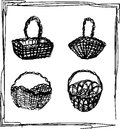 Set of wooden wicker baskets with bows, isolated on a white