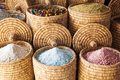 Baskets with spices and herbs in the souks of marrakesh Royalty Free Stock Photography