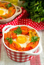 Basque dish piperade with peppers and tomatoes Royalty Free Stock Photo