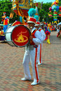 Bass drum player at disneyland Stock Photography