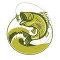 Bass Fish. Bass Fishing Lures. Bass Fishing tackle. Bass Fishing hook. Royalty Free Stock Photo
