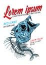 Bass fish skeleton