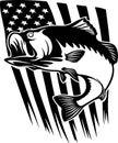 Bass fish US - Fishing logo. Template club emblem. Fishing theme vector illustration. Royalty Free Stock Photo
