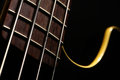 Bass fret board detail of the of a guitar on a dark background Stock Photography