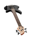 Bass guitar black on awhite background Royalty Free Stock Images