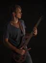 Bass guitarist. Royalty Free Stock Photo