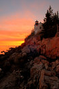 Bass Harbor Lighthouse Sunset, Bar Harbor, Maine Royalty Free Stock Photo